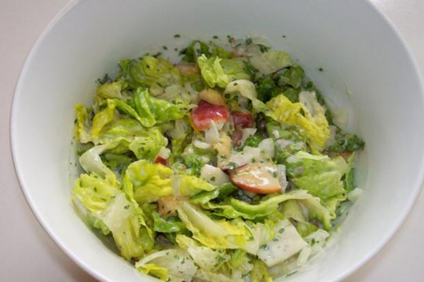Grüner Salat mit Nektarinen und Joghurtdressing - Rezept - Bild Nr. 5