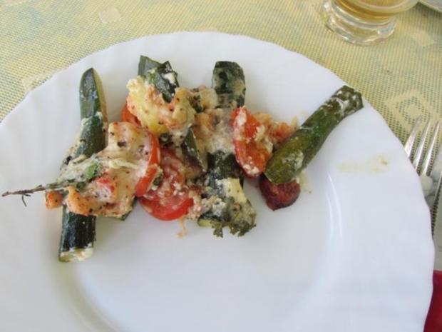 Gegrillte Mini – Zucchini mit Krebsfleisch - Rezept