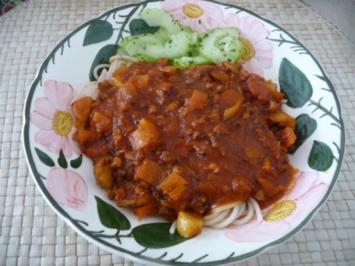 Fleischlos : Soja-Bolognese mit Reisnudeln - Rezept
