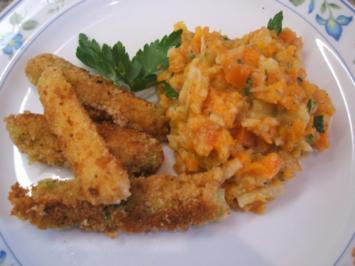 Gemüse: Gebackene Lauchzwiebeln mit Karotten-Petersilienwurzel-Püree - Rezept