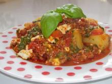 Mediterraner Kartoffel-Spinat-Auflauf mit Hackfleisch und Feta - Rezept