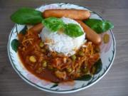 Fleischlos : Gemüsebolognese mit Tofu-Würstchen an Reis - Rezept