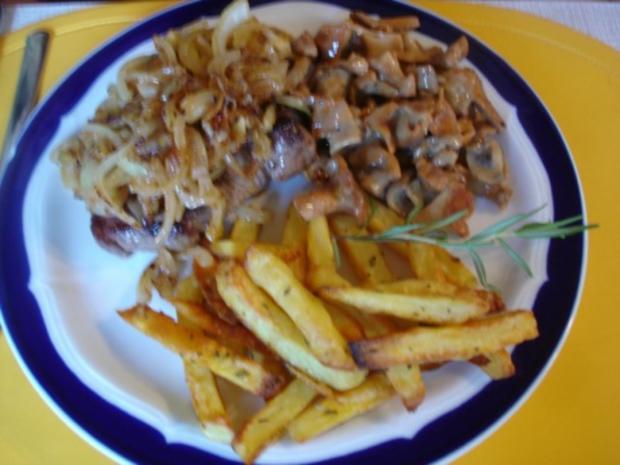 Steaks mit Zwiebelhaube, Rosmarin Pommes frites und Pfifferlingen mit Champignons - Rezept - Bild Nr. 19