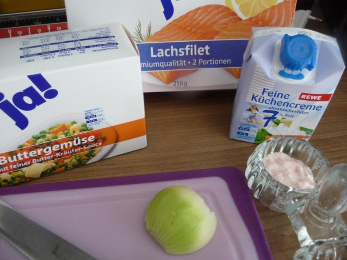 Feine Küchencreme ~ fisch gebratenen lachsfilet an reis und gemüse rezept