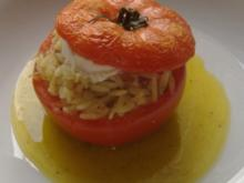 Tomaten mit Kritharaki  und Ziegenkäse - Füllung - Rezept
