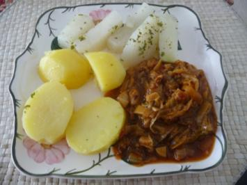 Fleischlos : Krautpfanne mit Salzkartoffeln und Kohlrabi - Rezept