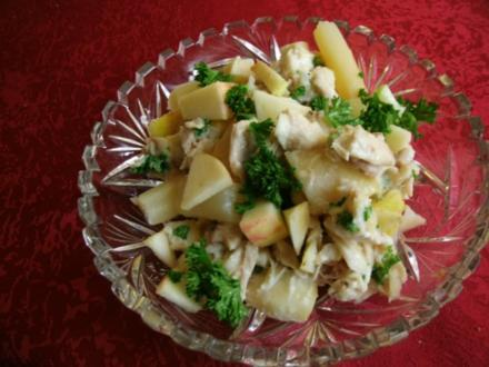 Brathähnchensalat mit Apfel und Spargel - Rezept