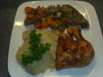 Reste von der Lammkeule mit Couscous und einem Hühnerbein - Rezept
