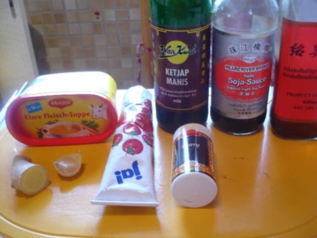 Schweinefiletspieße mit Currysauce und Backofen Pommes frites - Rezept - Bild Nr. 2