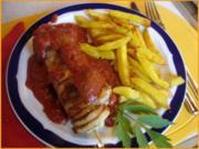 Schweinefiletspieße mit Currysauce und Backofen Pommes frites - Rezept