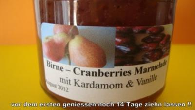 Rezept: Birnen - Cranberrie Marmelade