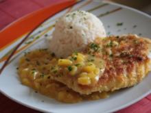 Hühnerbrust mit Kokospanade und Mango-Zimt-Soße - Rezept