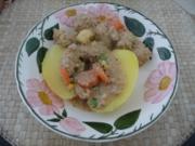 Fleischlos : Tofu-Soja-Kräuter-Bällchen an Kartoffeln - Rezept