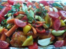 Hähnchenschenkel mit Gemüse und Rosmarinkartoffeln - Rezept