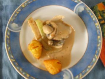 Schweinelendchen mit Champignon-Kohlrabi-Sauce - Rezept