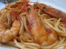 Spaghetti mit Garnelen und Ouzo - Rezept