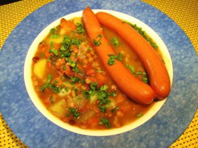Linsengericht mit viel Gemüse - Rezept