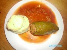 Gefüllte Paprika mit Kartoffelpüree - Rezept