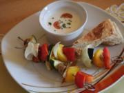 Gemüsespieße mit Knoblauch-Schafskäse-Dip - Rezept