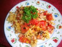 Tomaten - Käse- Wurstnudeln - Rezept