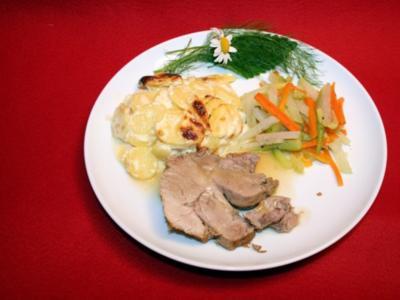 Schweinehals mit Kartoffelgratin - Rezept
