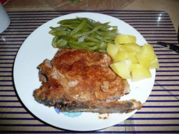 Kotelett , Bohnengemüse & Salzkartoffel - Rezept