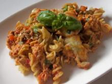 Thunfisch-Nudel-Auflauf mit mediterraner Feta-Tomaten-Creme - Rezept