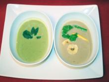 Pas de deux - Sommerliche Erbsensuppe und Bananen-Chili-Suppe - Rezept