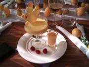 Mango Panna Cotta mit knusprigem Cracker und Eierlikör - Rezept
