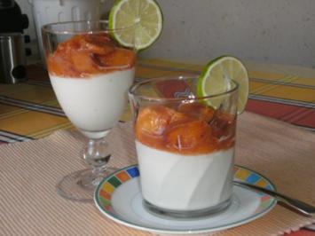 Limetten-Kokosmousse mit beschwipstem Pfirsichkompott - Rezept
