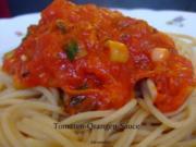 Spaghetti mit Tomaten-Orangen-Sauce - Rezept
