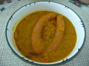 Rezept: Suppen & Eintöpfe : Kürbissuppe mit oder OHNE Würsten