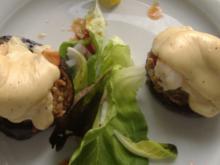 Auberginen mit Garnelen und Serrano-Schinken - Rezept