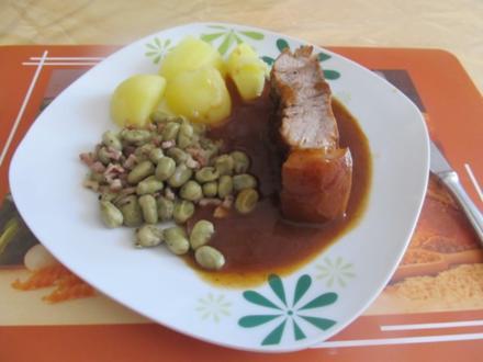 Schweineschulter mit Bohnenkernen - Rezept
