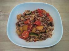 Feurig-scharfe Gemüse-Reis-HackPfanne - Rezept