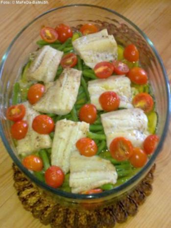 Fischauflauf auf buntem Gemüse - Rezept