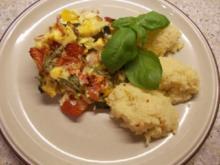 Zucchini-Paprika-Tomaten-Auflauf mit Schafskäse und Schinken - Rezept