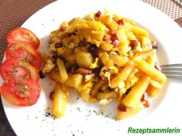 Rezept: Kartoffel:   KNÖDELSTIFTE mit Schinken + Ei