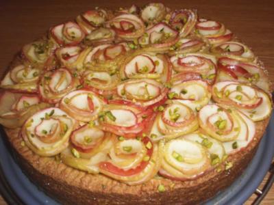 Mürbteig-Apfel-Kuchen mit Pistaziencreme - Rezept