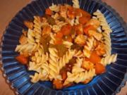 Nudeln mit Hähnchen-Kürbis-Geschnetzeltes - Rezept