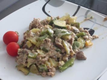 Hackfleisch-Gemüse-Käse-SENF-Pfanne - Rezept
