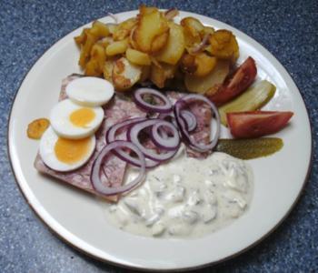 Bauernsülze mit Bratkartoffeln - Rezept
