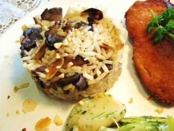 Pilz-Reis mit gerösteten Mandeln - Rezept
