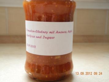 Tomaten-Chutney mit Ananas, Apfel, Aprikosen und Ingwer Reiches Tomaten-Relish - Rezept