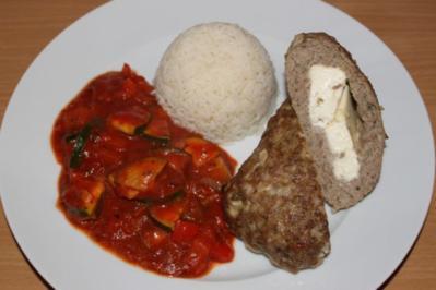 """Hackroulade """"Greek Style"""" mit Paprika-Zucchini-Gemüse und Reis - Rezept"""