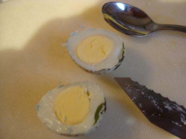 Gekochte Wachteleier mit Senfsauce und Kartoffelpüree mit Erbsen - Rezept - Bild Nr. 5