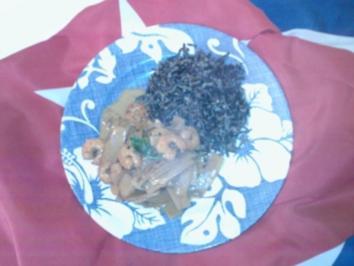 Garnelencurry süß-sauer an Wildreis - Rezept