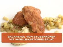 Backhendl vom Stubenküken mit Vanille-Gurken-Kartoffelsalat und Remouladensauce - Rezept