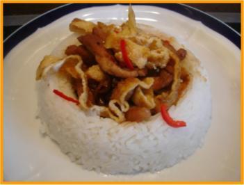 Schweineschnitzel-Eier-Wok mit Reis - Rezept