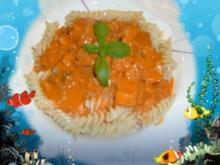 Fisch : 2erlei in Tomatensoße mit Pasta - Rezept